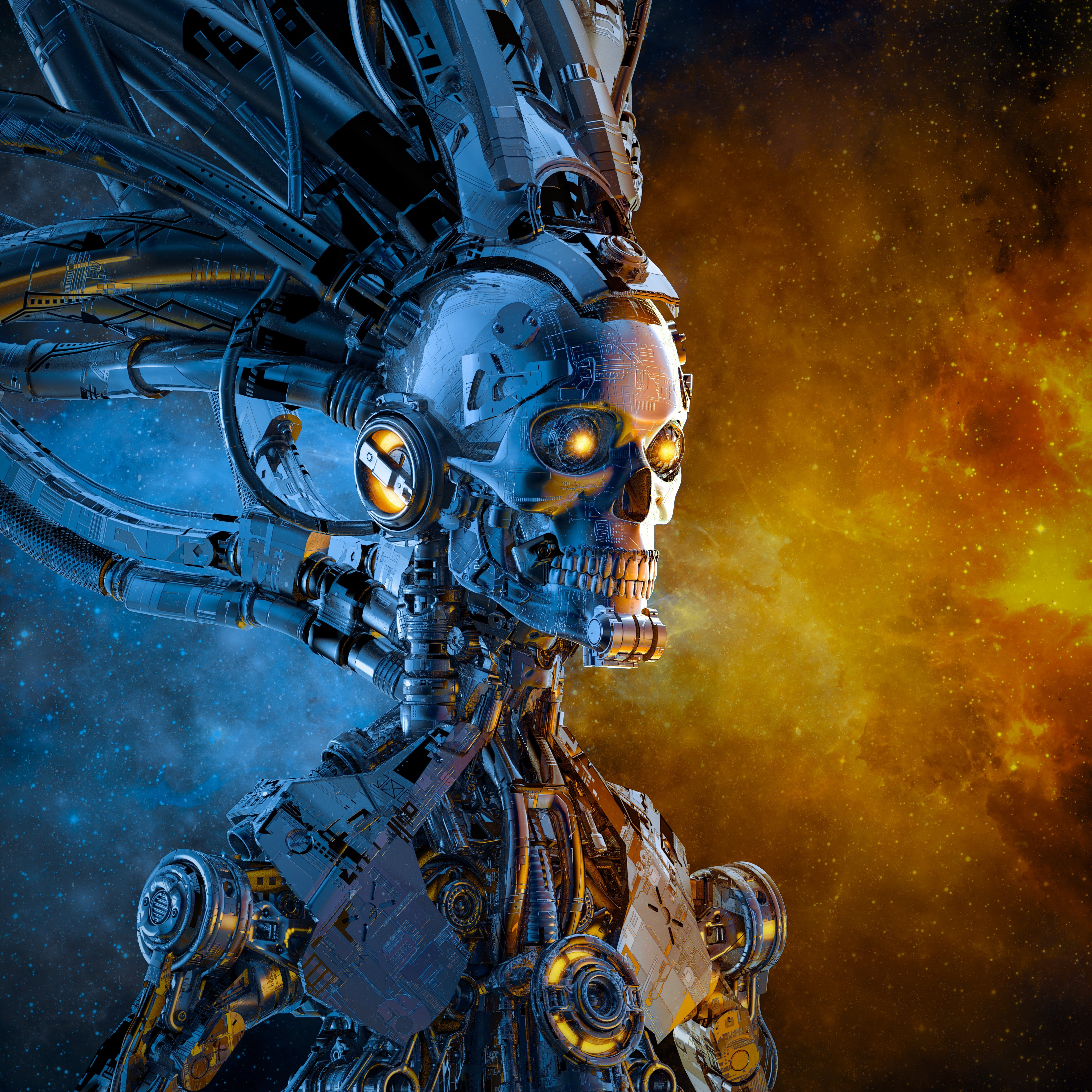 Galactic reaper duality / 3D illustration of scary futuristic science fiction skull faced humanoid cyborg lit by blazing galaxy in outer space